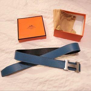 NWOT HERMES Blue Leather Belt